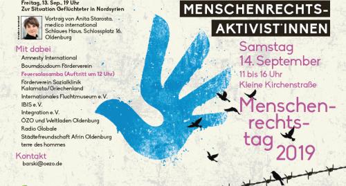 Flyer mit Rahmeninformationen zum Menschenrechtstag. Foto: © Ökumenisches Zentrum Oldenburg