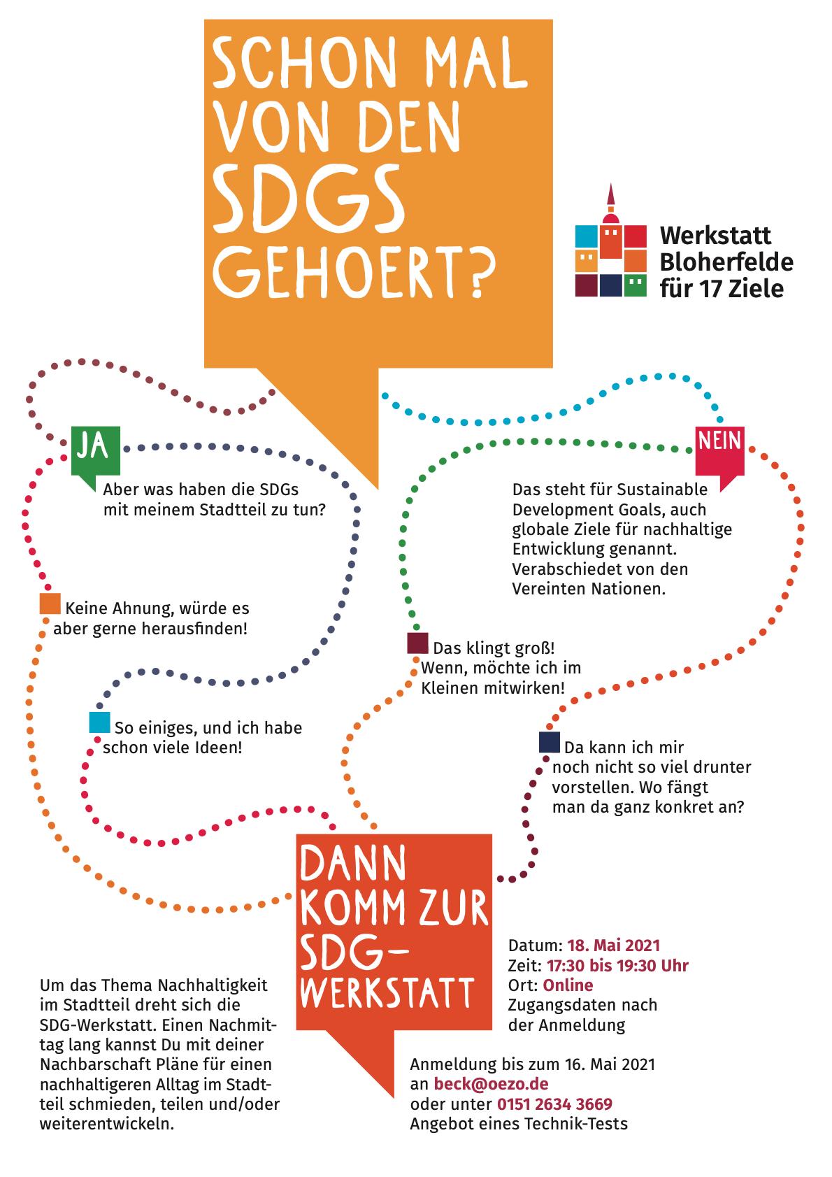 Flyer für die SDG Werkstatt in Bloherfelde und Eversten. Flyer: © Ohf