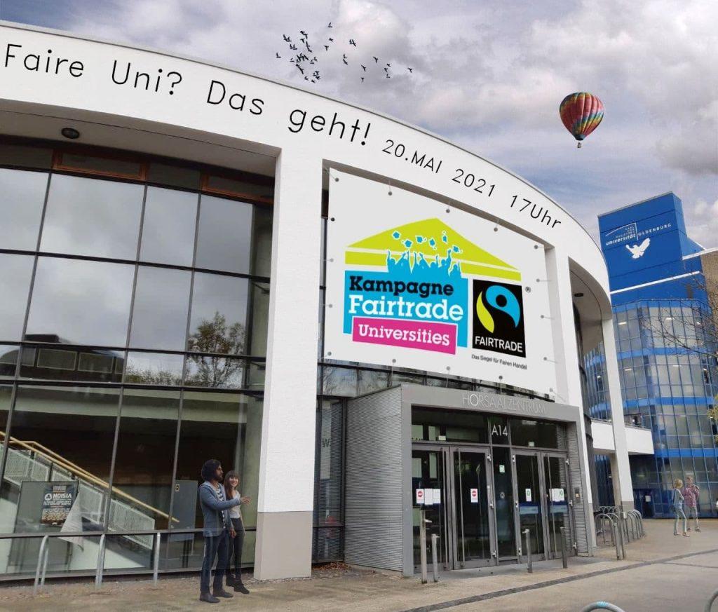 Flyer zur Veranstaltung, auf dem der Eingang zum Uni-Gebäude A14 zu sehen ist. Flyer: © J. Zier