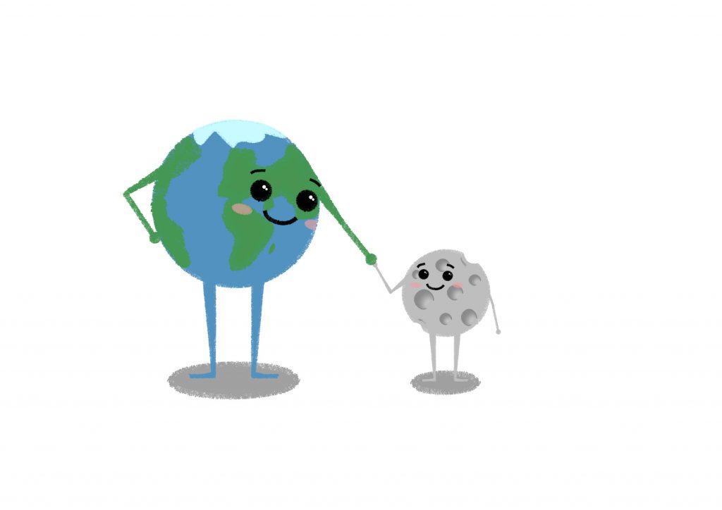 Zwei skizzierte Figuren Elfieda Erde und Magnus Mond Hand in Hand. Bild: © M. Wehlte