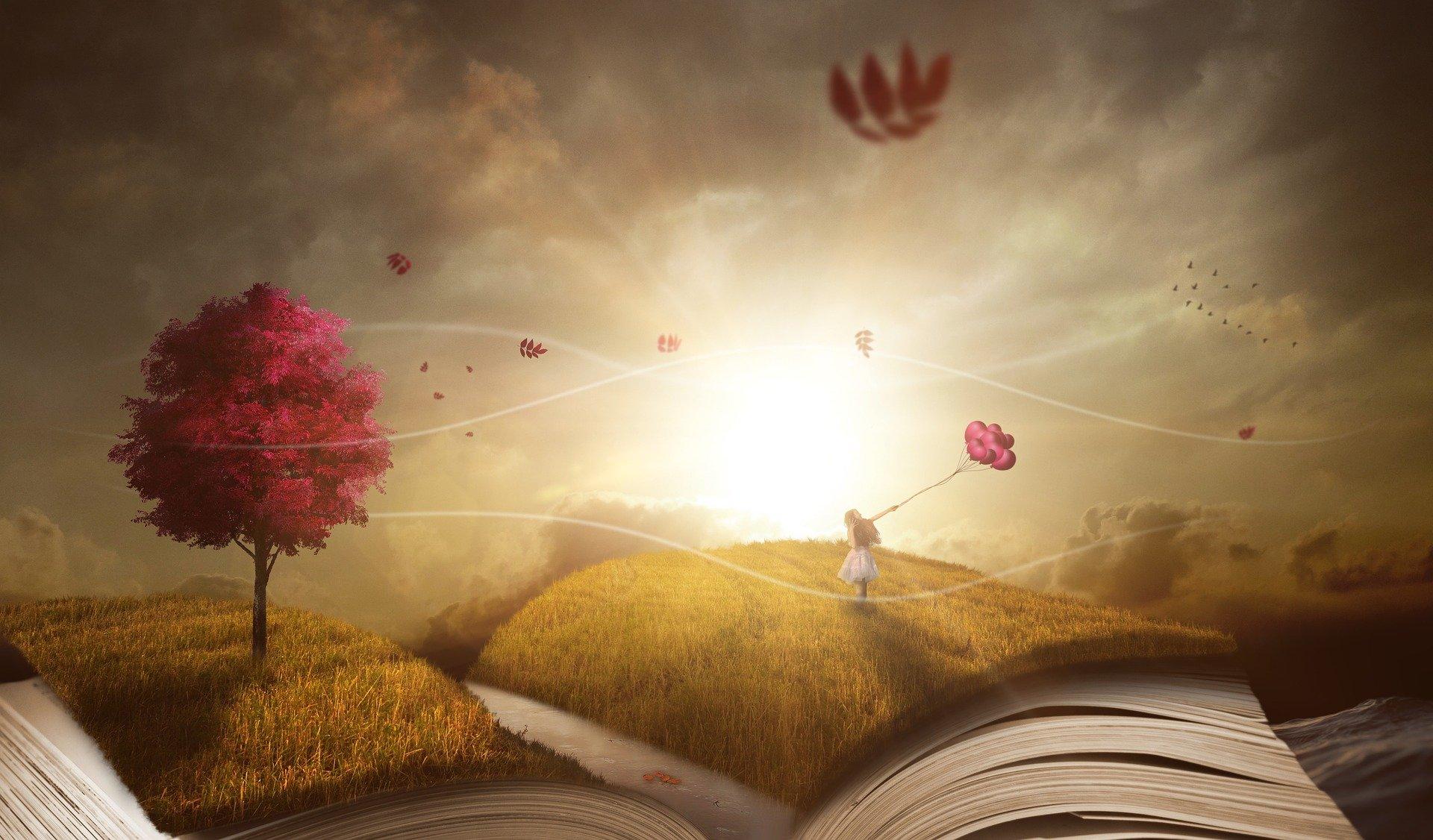 Bild zur Bewerbung des Erzählcafés auf dem ein aufgeschlagenes Buch und mystisch herumfliegende Blumen zu sehen ist. Im Hintergrund geht die Sonne auf. © CC0