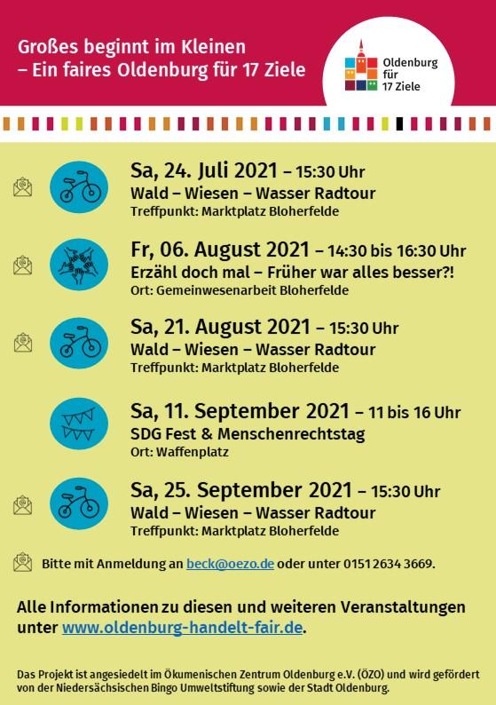 Es ist eine Veranstaltungsübersicht für die Stadtteile Bloherfelde und Eversten zu sehen mit einem Erzählcafé, Radtouren und dem SDG-Fest zu sehen.