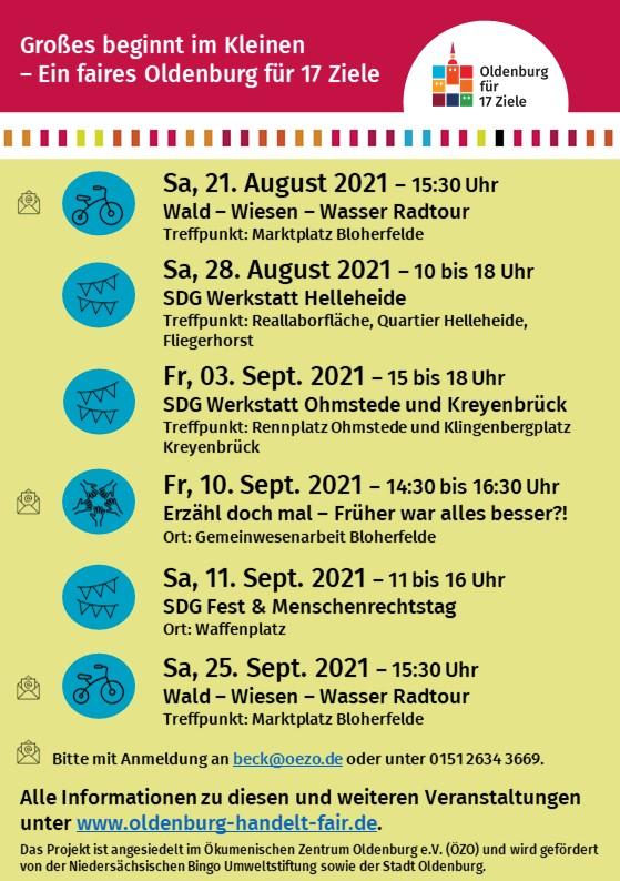 Es ist eine Veranstaltungsübersicht für die Stadtteile Bloherfelde und Eversten mit einem Erzählcafé, Radtouren und dem SDG-Fest zu sehen. Flyer: © Oldenburg handelt fair