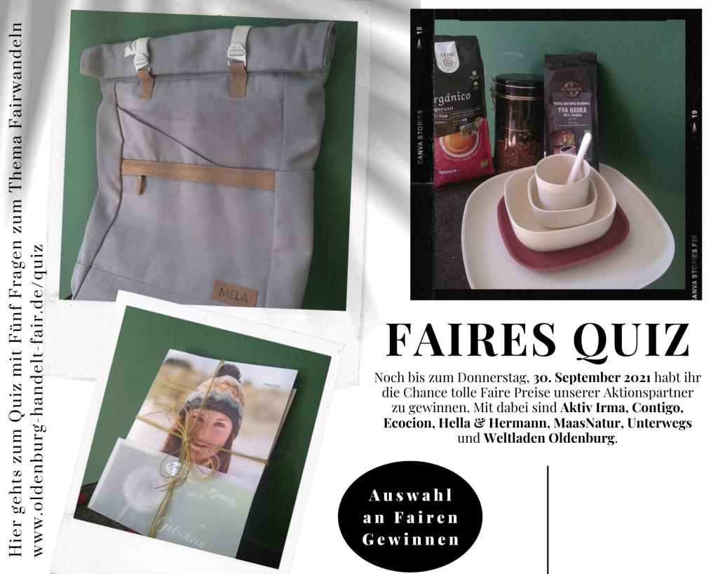 Eine Auswahl der Fairen Gewinne im Rahmen des Fairen Quiz: Kaffee, Kaffeedose, nachhaltiges Geschirr, Rucksack von Melawear, Gutscheine von MaasNatur.