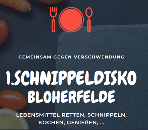 Auf dem Bild ist der Flyer zur Schnippeldisko zu sehen mit einem Teller, Löffel und Gabel.